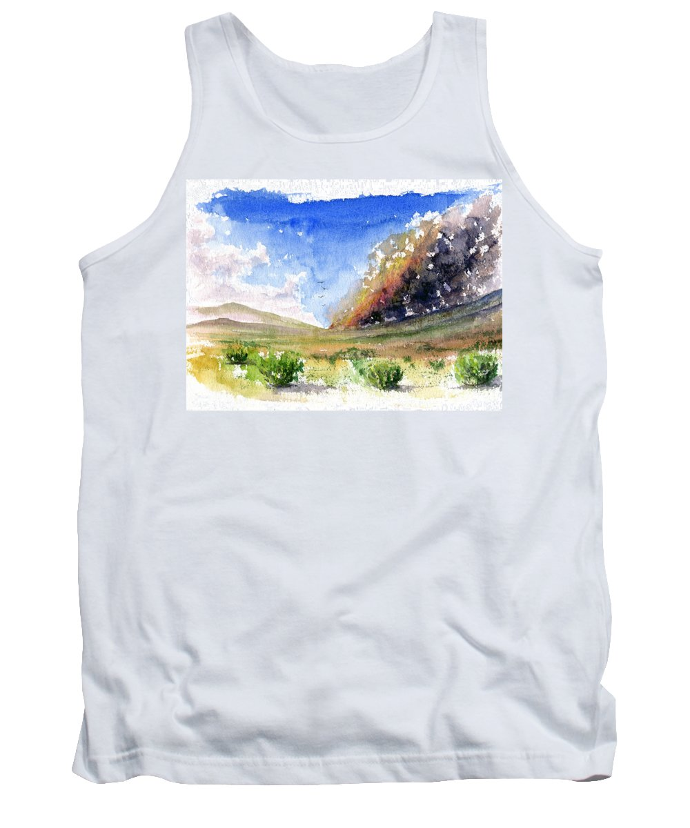 Fire Tank Top featuring the painting Fire In The Desert 1 by John D Benson