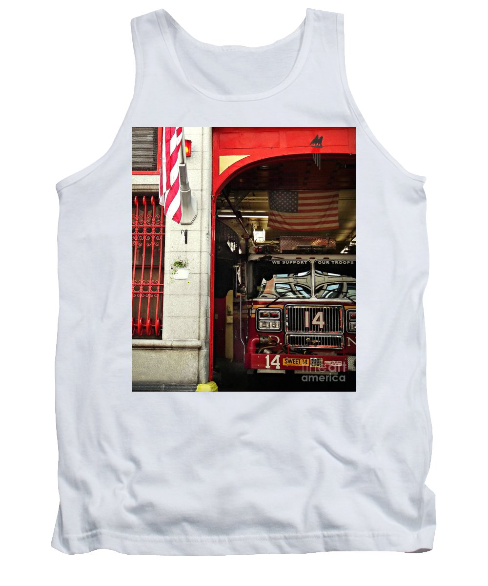 Firemen Tank Top featuring the photograph Firefighters Of New York - Engine Sweet 14 - Closeup by Miriam Danar
