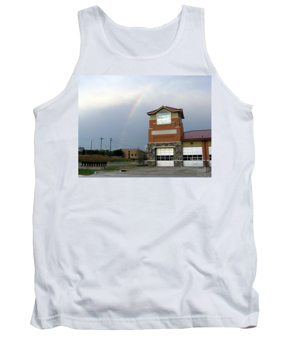 Firehouse. Ft Worth Tx Tank Top featuring the photograph Firehouse Ranibow by Amy Hosp