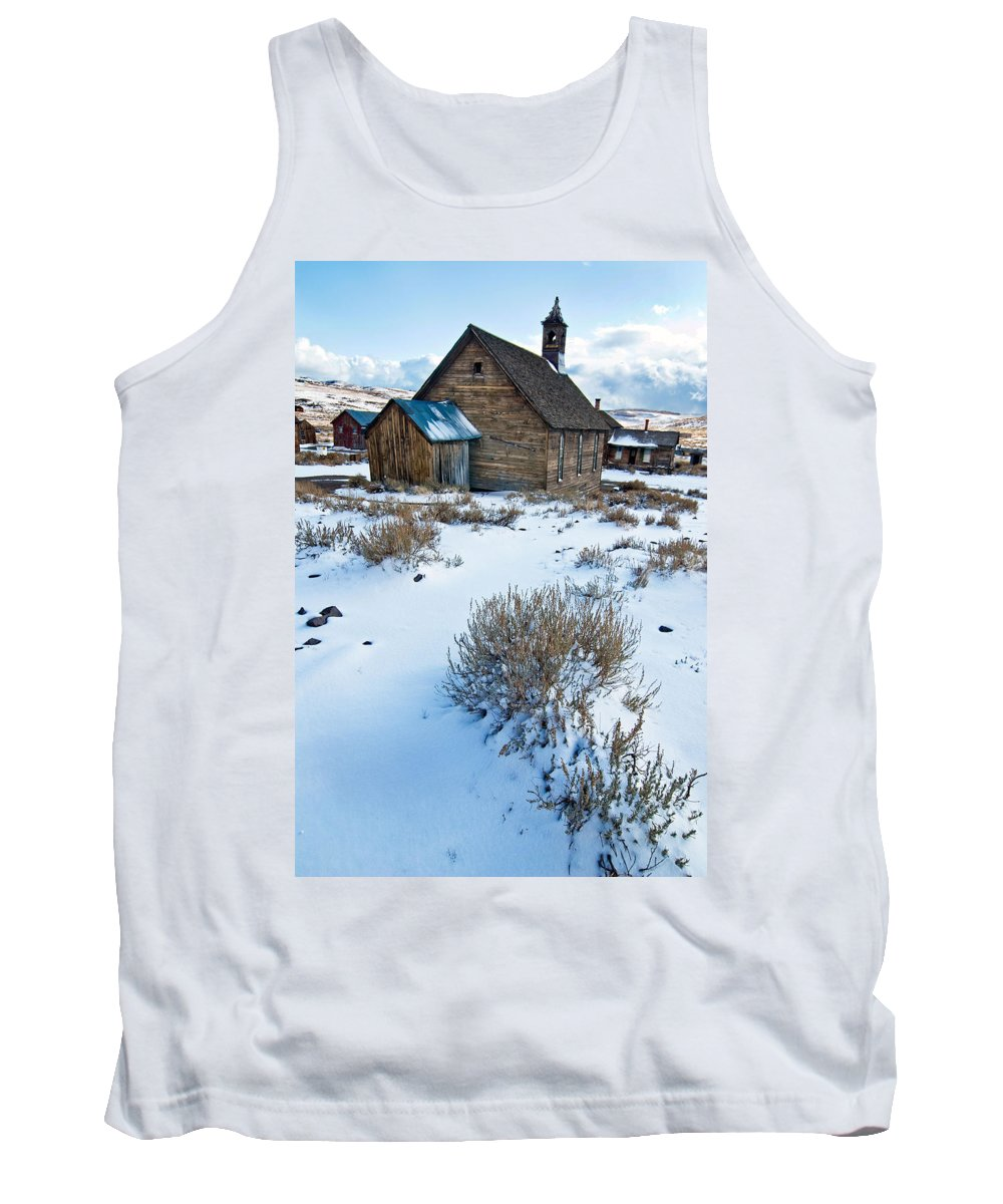 California Tank Top featuring the photograph First Snow Bodie by Norman Andrus