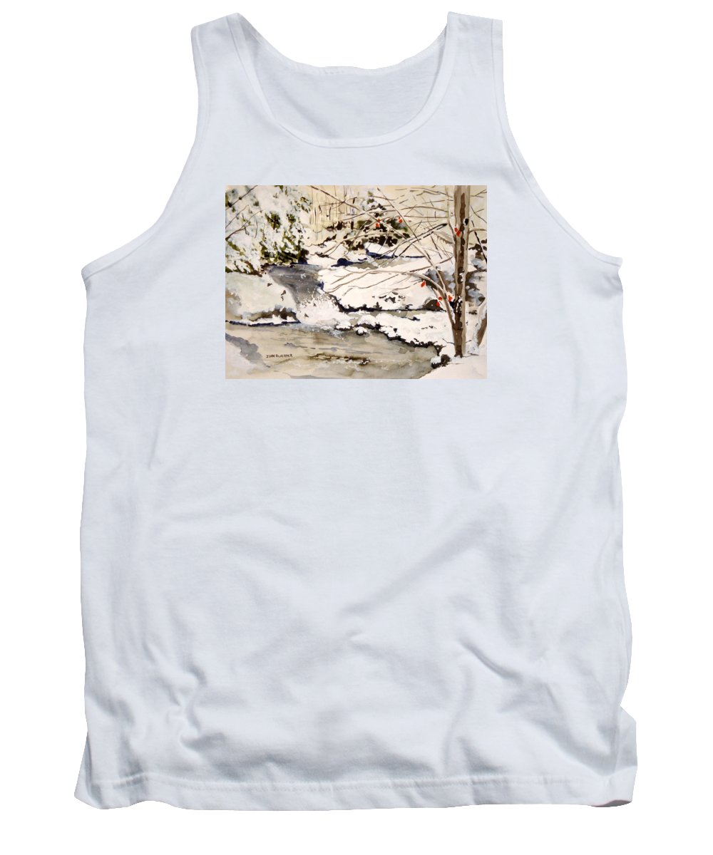 Winter Scene Tank Top featuring the painting First Snowfall by Jean Blackmer