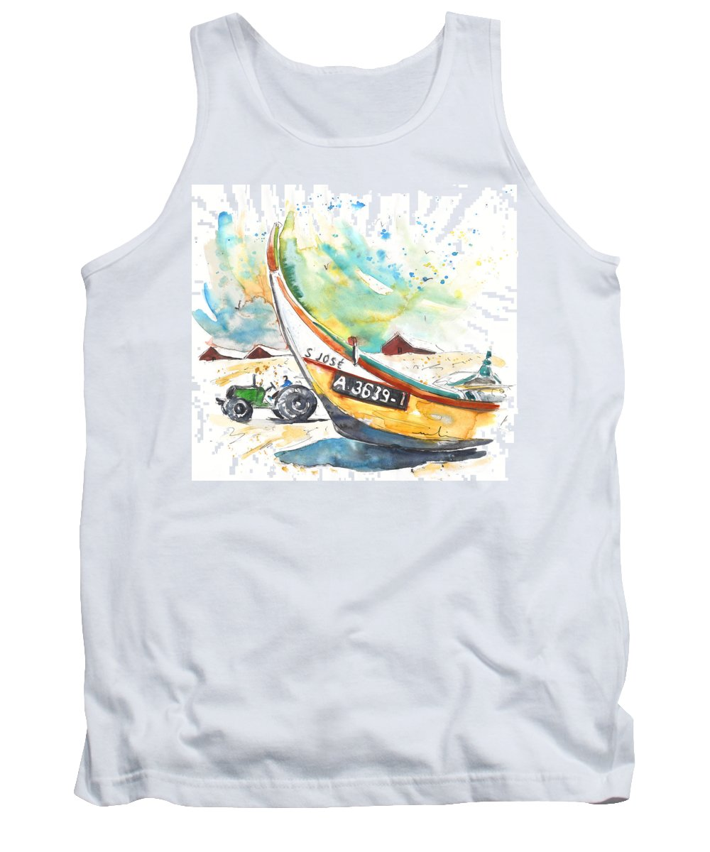 Portugal Tank Top featuring the painting Fisherboat In Praia De Mira by Miki De Goodaboom