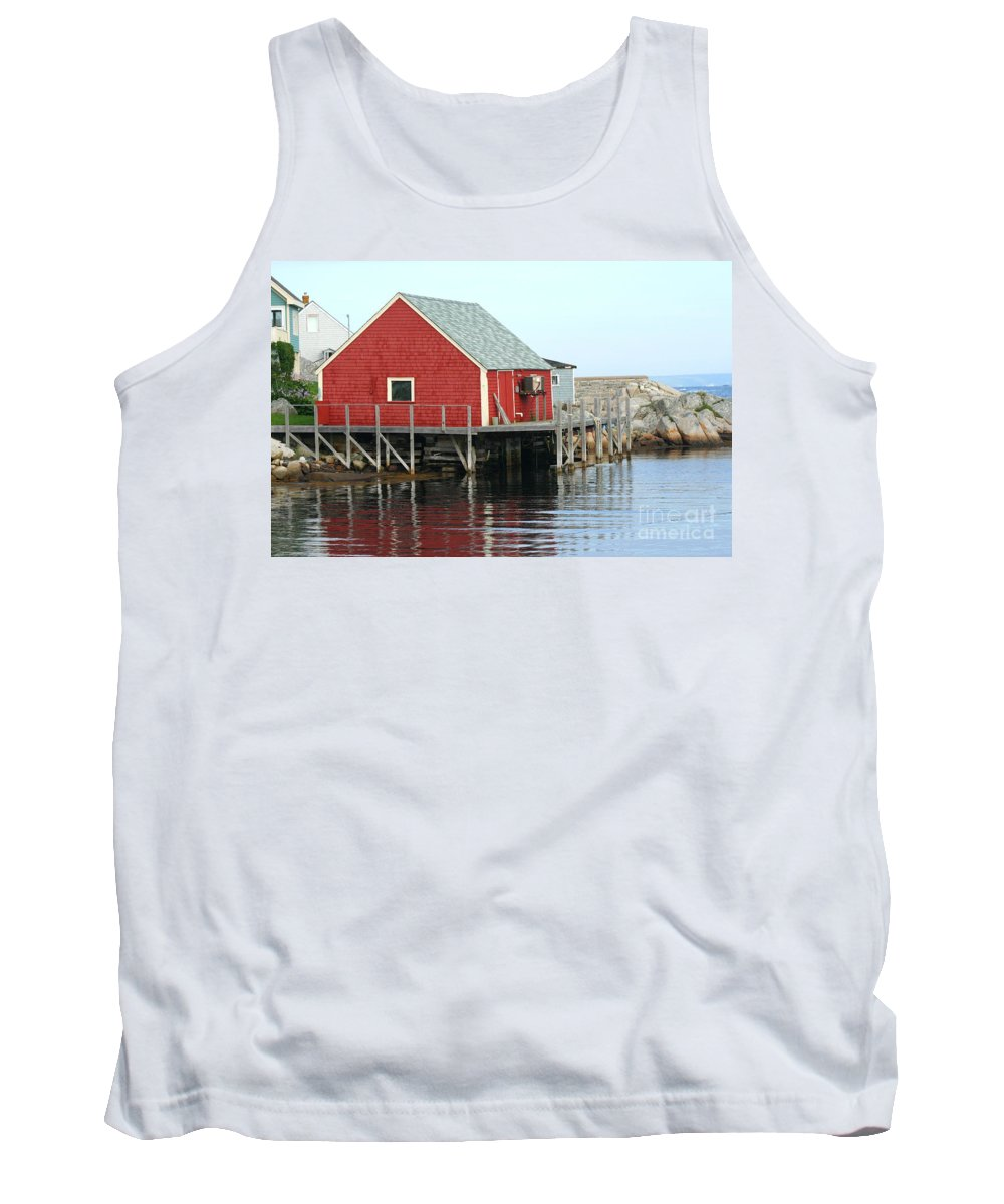Peggy's Cove Tank Top featuring the photograph Fishermans House On Peggys Cove by Thomas Marchessault