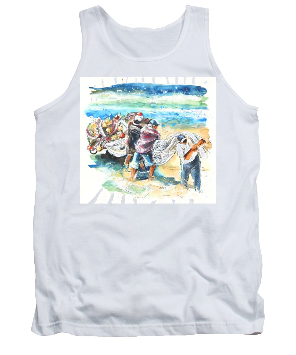 Portugal Tank Top featuring the painting Fishermen In Praia De Mira by Miki De Goodaboom