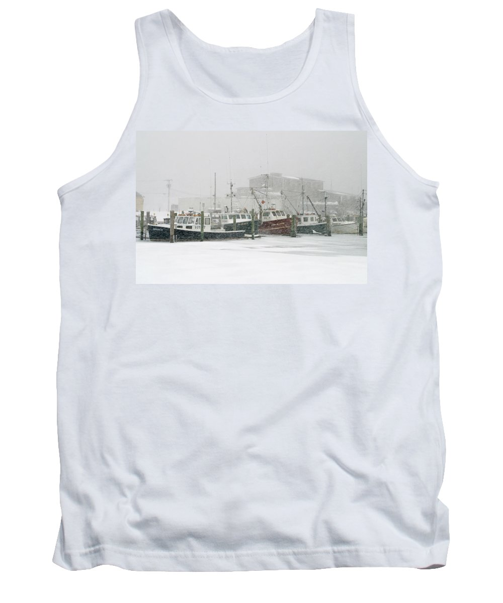Winter Tank Top featuring the photograph Fishing Boats During Winter Storm Sandwich Cape Cod by Matt Suess