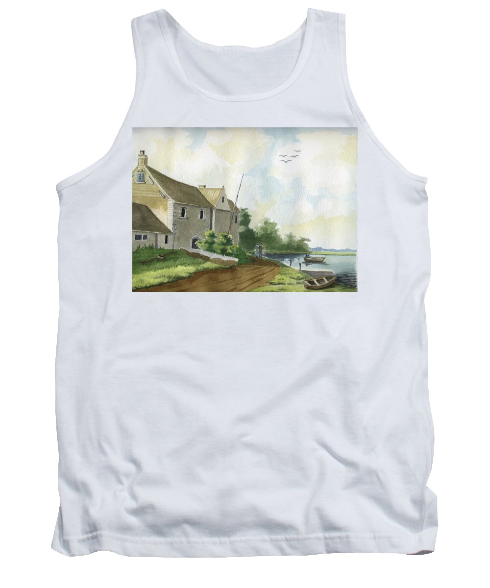 Lake Tank Top featuring the painting Fishing Lake by Alban Dizdari