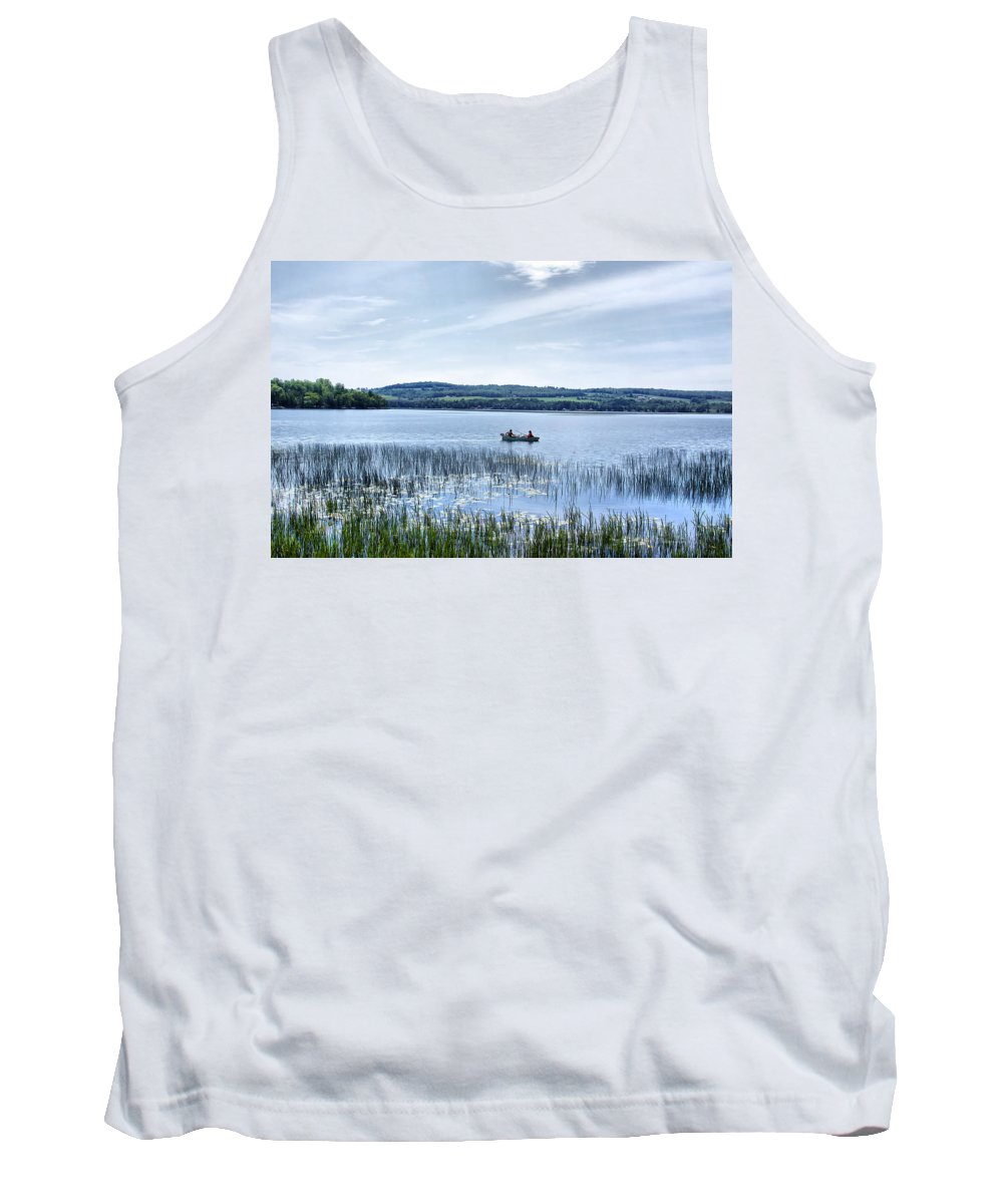 Lake Tank Top featuring the photograph Fishing On Lake Carmi by Deborah Benoit
