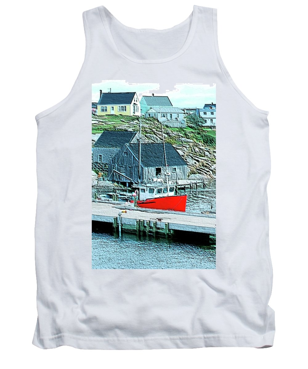 Red Tank Top featuring the photograph Fishing Village by Kathleen Struckle