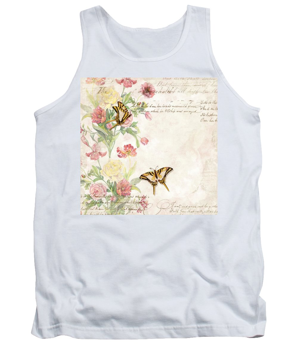 Butterfly Tank Top featuring the painting Fleurs De Pivoine - Watercolor W Butterflies In A French Vintage Wallpaper Style by Audrey Jeanne Roberts