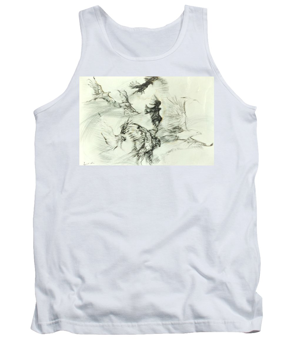 Birds; Nature; Spiritual; Metaphore; Tank Top featuring the drawing Flight Of The Eagle by Arlene Rabinowitz