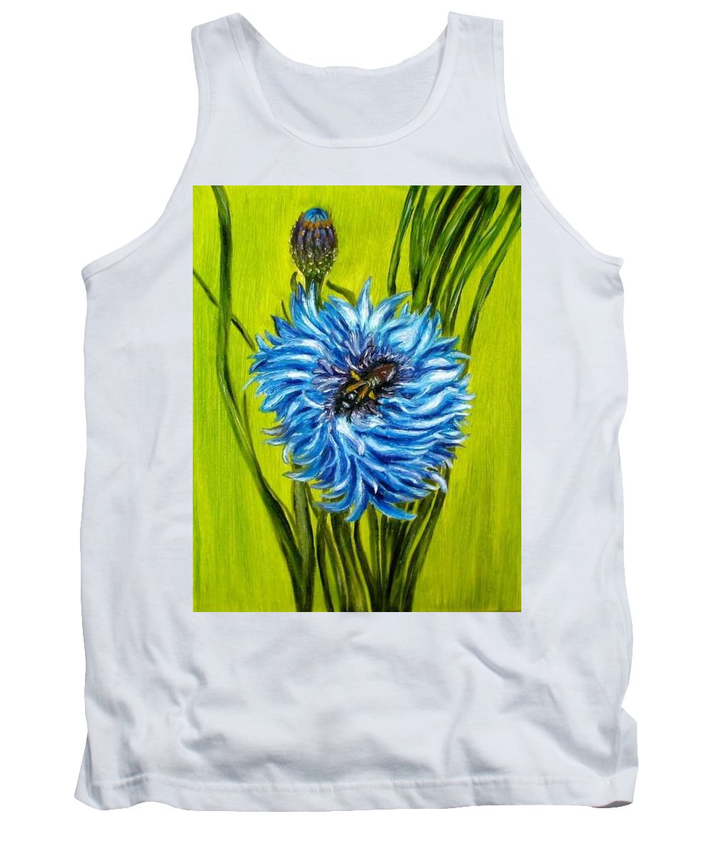 Flower Tank Top featuring the painting Flower And Bee Oil Painting by Natalja Picugina