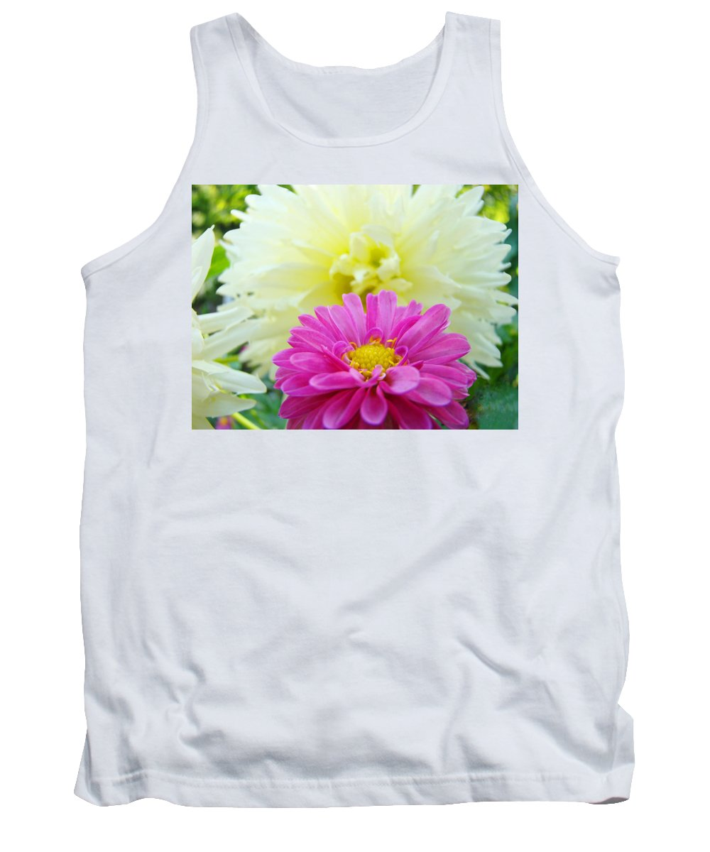 Dahlia Tank Top featuring the photograph Flower Art Print White Pink Dahlia Floral Canvas Baslee Troutman by Baslee Troutman
