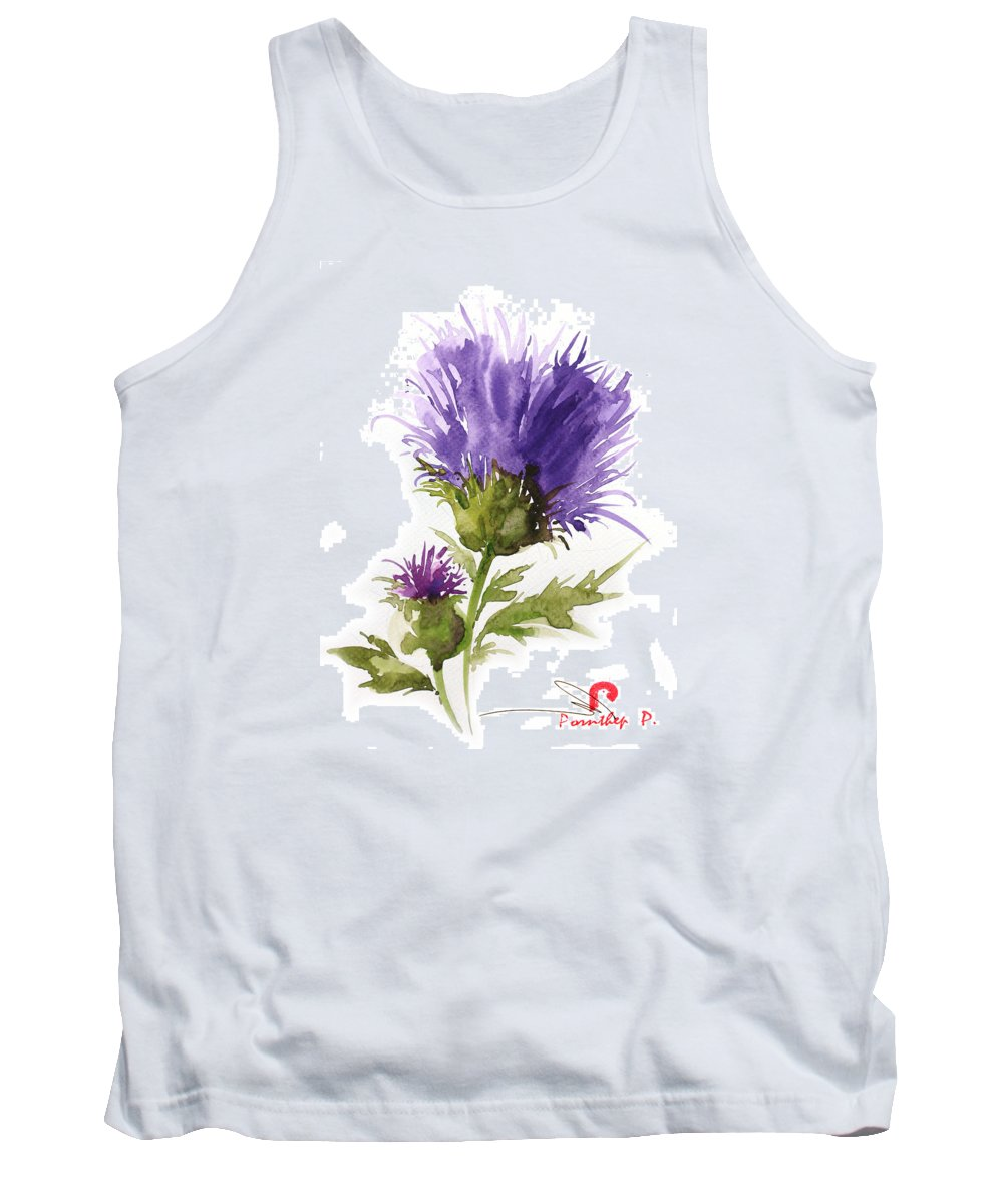 Flowers Tank Top featuring the painting Flower Painting 1 by Pornthep Piriyasoranant