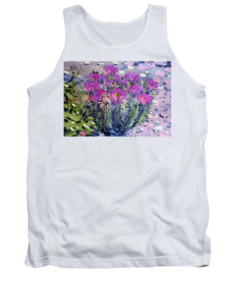 Flowering Cactus Tank Top featuring the painting Flowering Cactus by Donald Maier