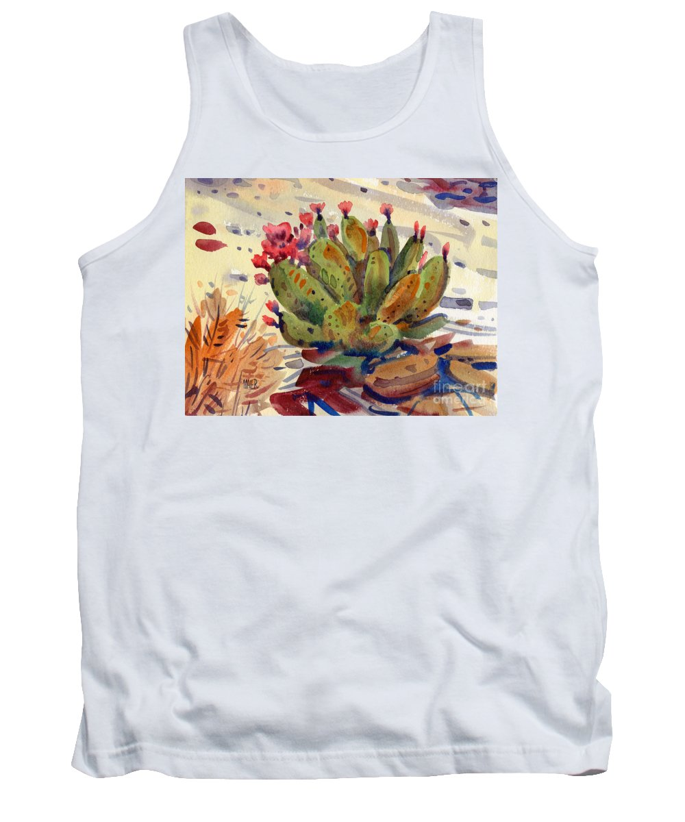 Opuntia Cactus Tank Top featuring the painting Flowering Opuntia by Donald Maier