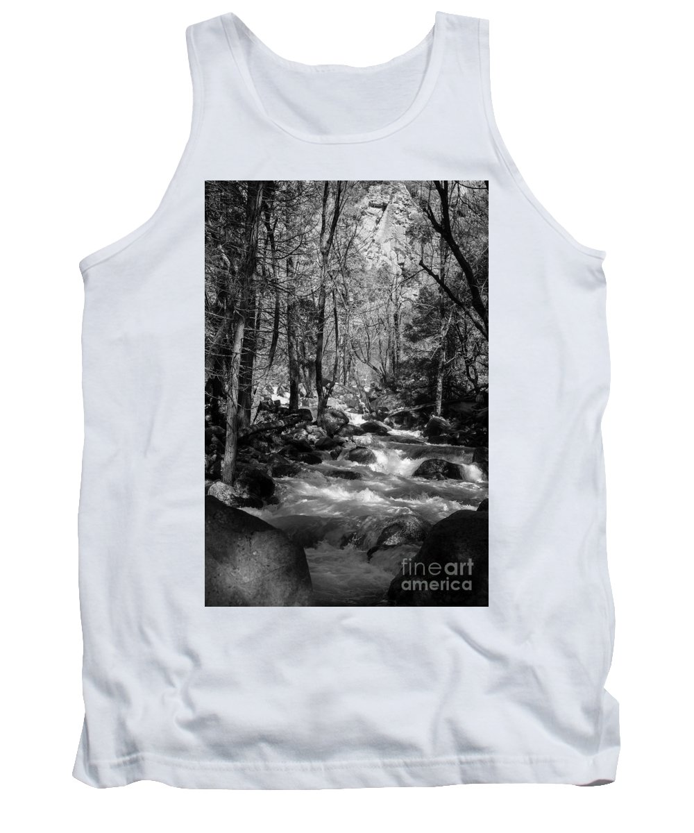 Creek In Black And White Tank Top featuring the photograph Flowing Creek by Sylvia Sanchez