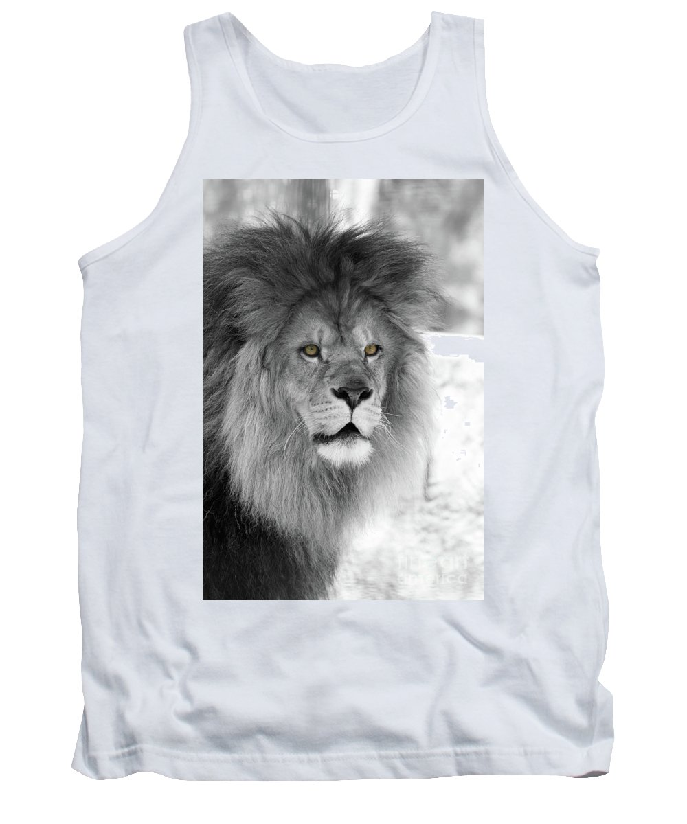 Lion Tank Top featuring the photograph Fluffy Tango Black And White T O C by Judy Whitton