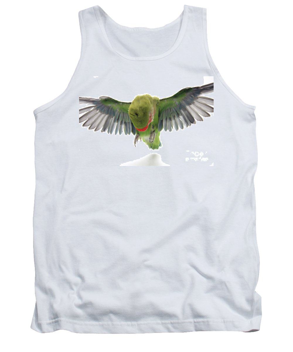 Fly Tank Top featuring the photograph Flying Parrot by Yedidya yos mizrachi