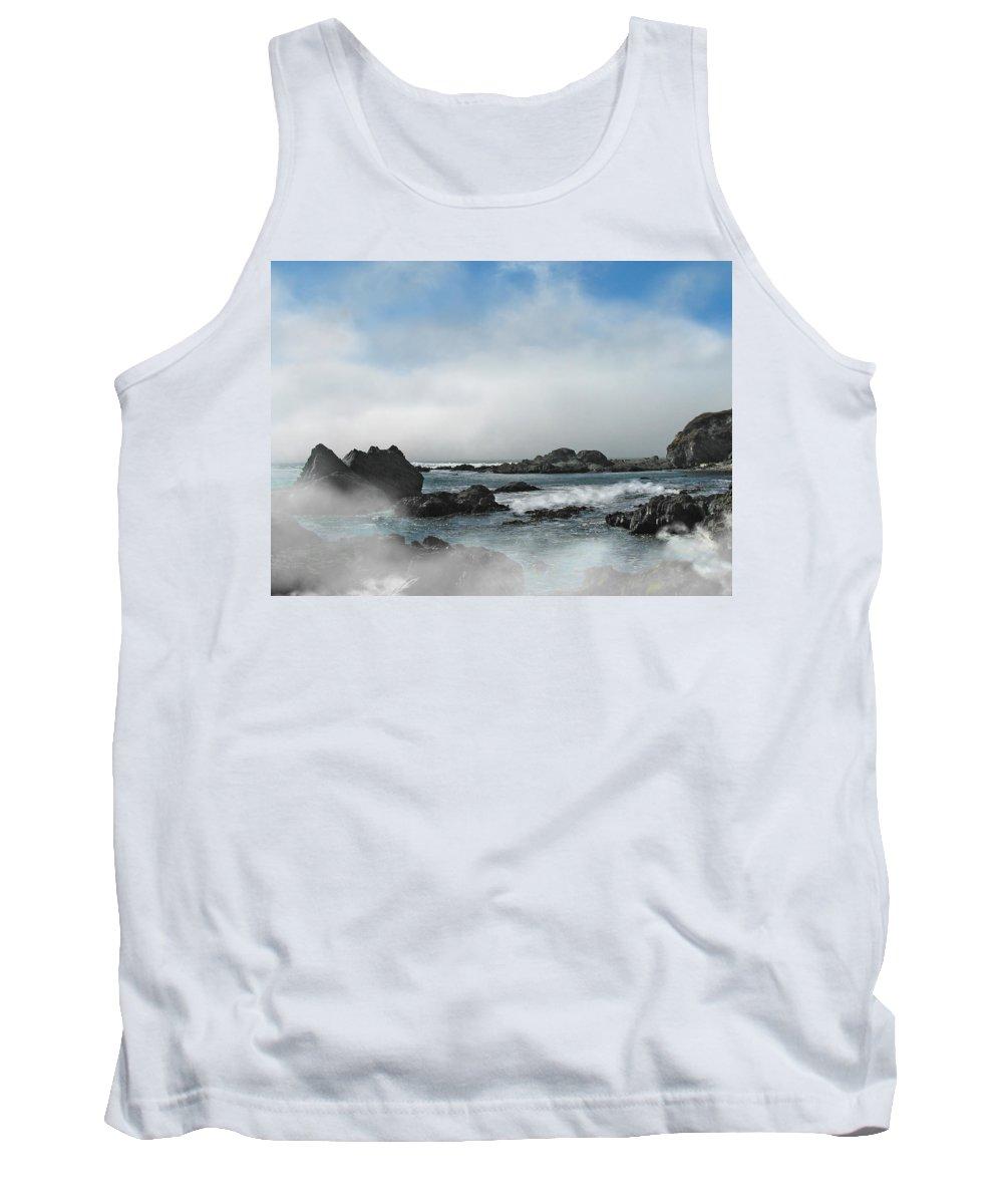 Ocean Tank Top featuring the photograph Fog Lift by Karen W Meyer