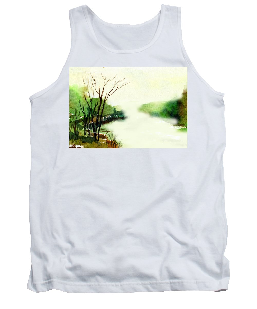 Water Color Tank Top featuring the painting Fog1 by Anil Nene