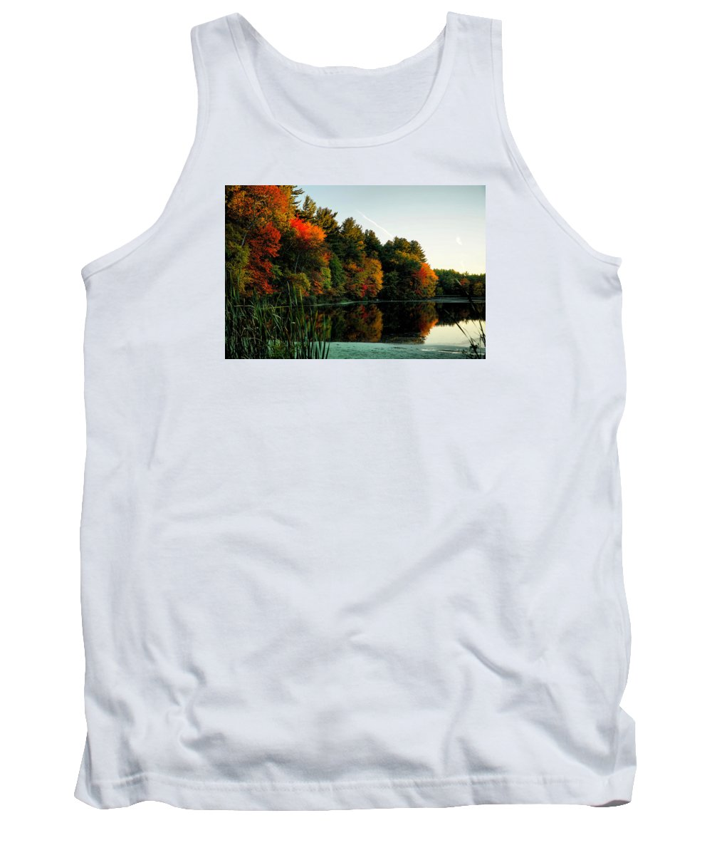 October Tank Top featuring the photograph Foliage Reflections by Lilia D