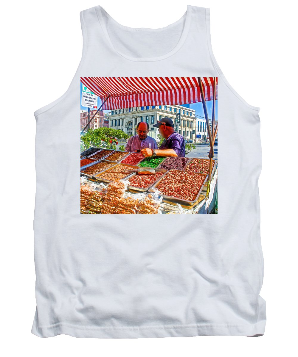 Food Booth In Valparaiso Square Tank Top featuring the photograph Food Booth In Valparaiso Square-chile by Ruth Hager