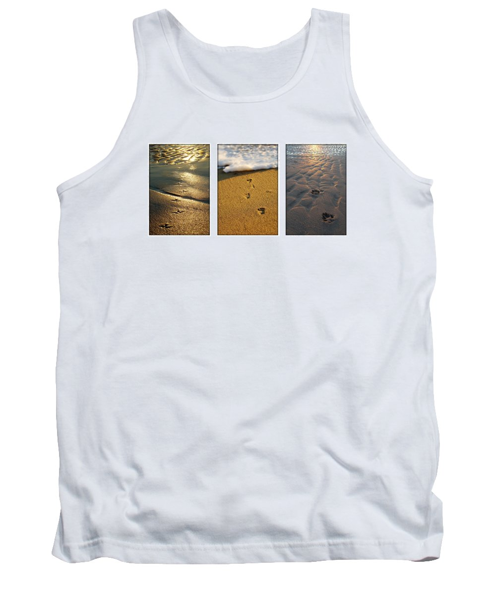 Beach Tank Top featuring the photograph Footprints In The Sand by Jill Reger