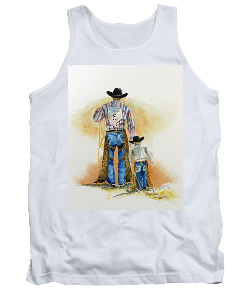 Bull Tank Top featuring the painting Footsteps by Jimmy Smith