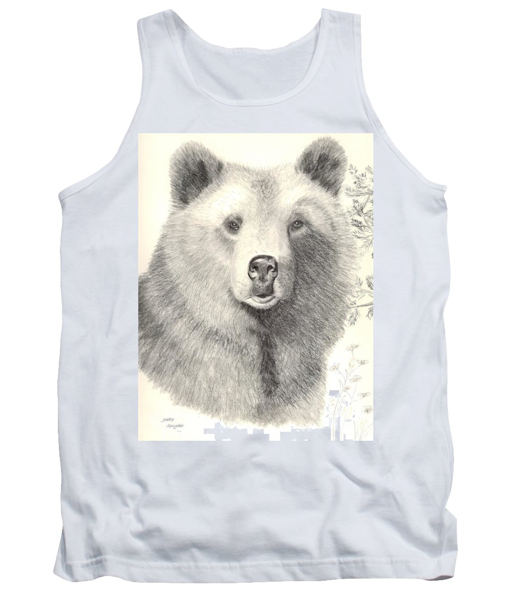 Grizzle Bear Tank Top featuring the drawing Forest Sentry by Joette Snyder