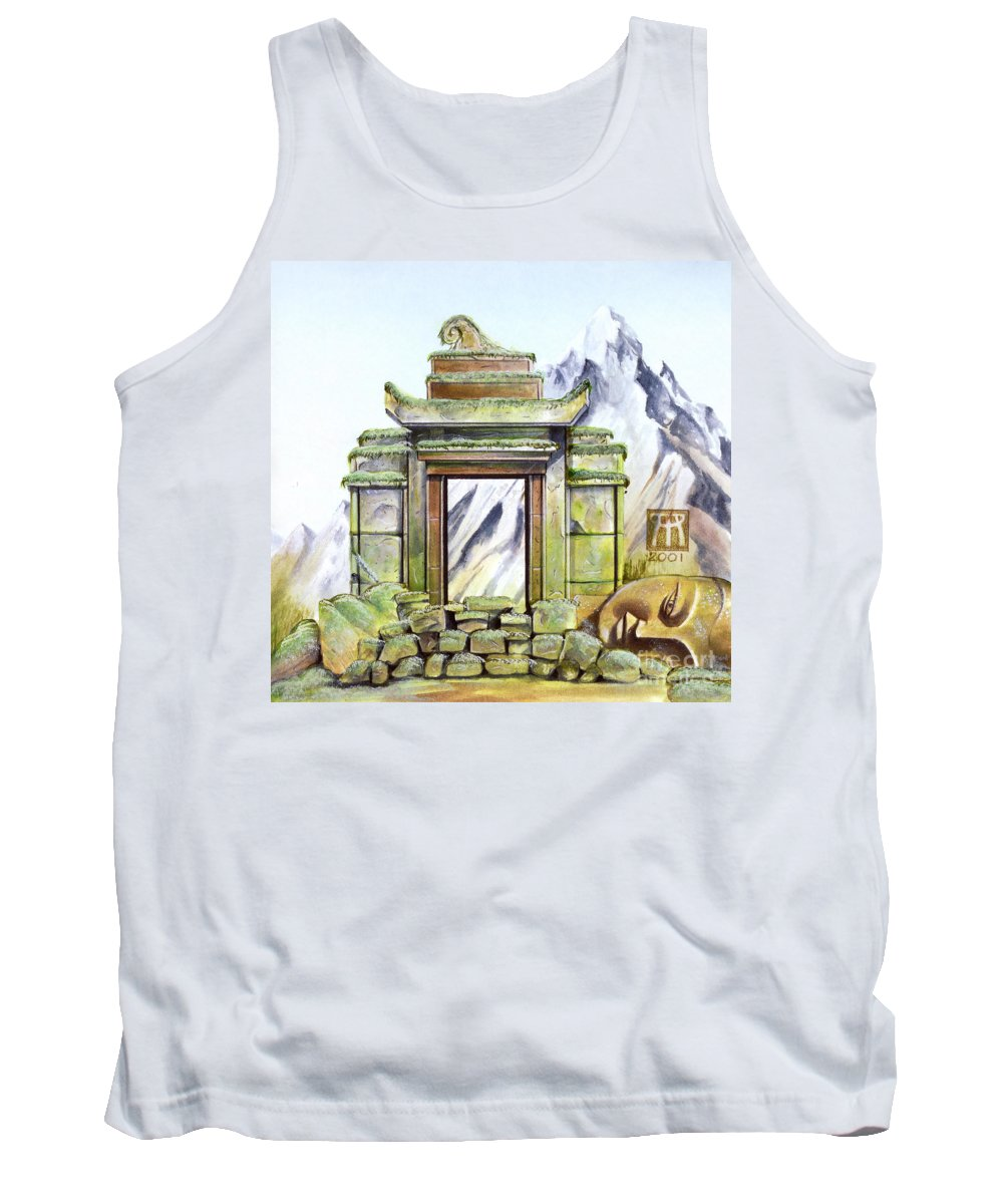 Shrine Tank Top featuring the painting Forgotten Shrine by Melissa A Benson