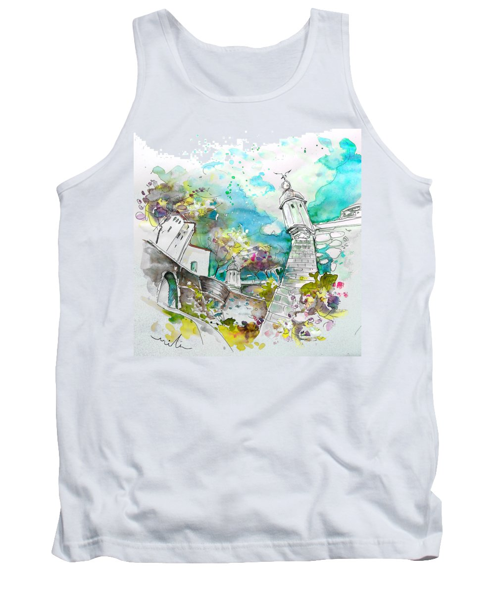 Portugal Tank Top featuring the painting Fort And Houses In Valenca by Miki De Goodaboom