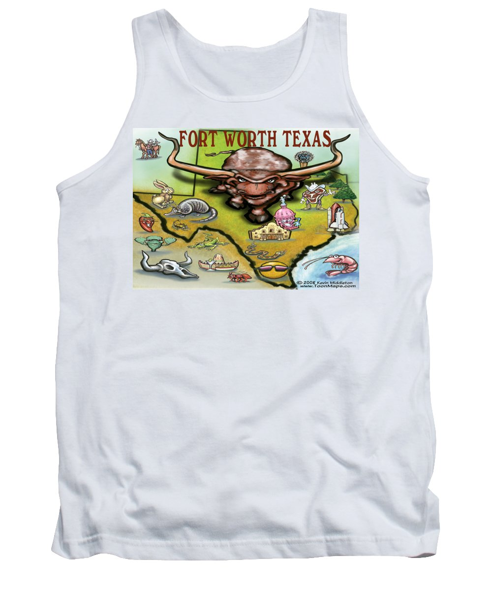 Fort Worth Tank Top featuring the greeting card Fort Worth Texas Cartoon Map by Kevin Middleton