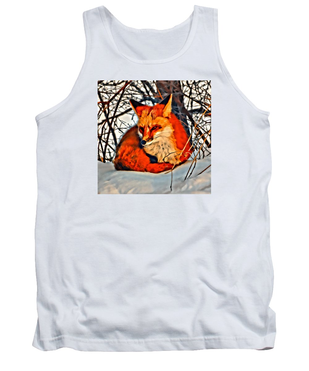 Snow Tank Top featuring the photograph Foxy by Modern Art