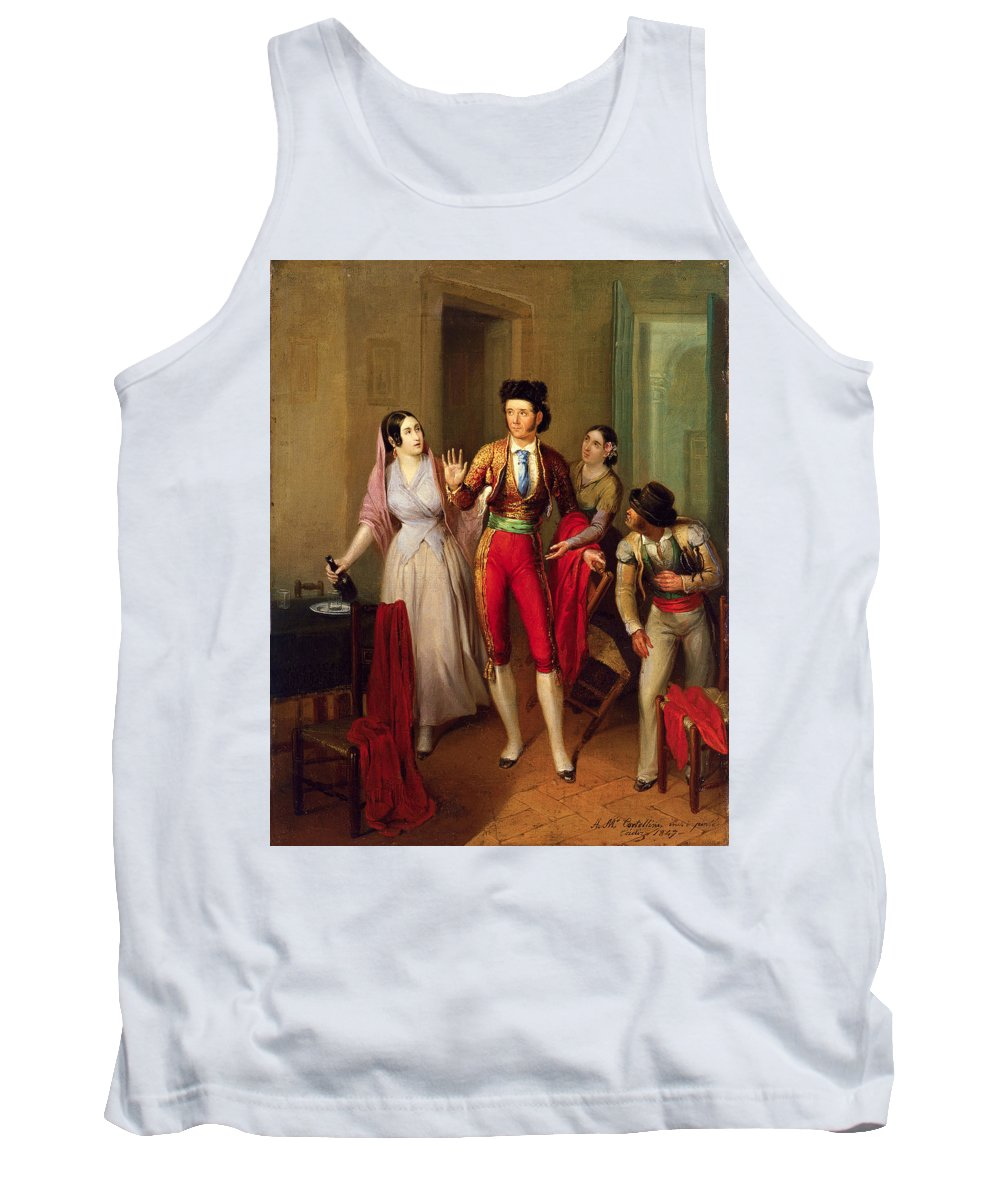 Angel Mar�a Cortellini Hern�ndez Tank Top featuring the painting Francisco Montes by Angel Mara