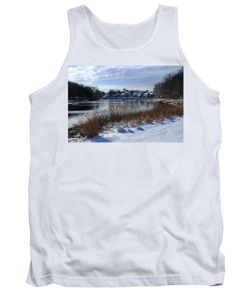Fresh Snow Along The Creek  Blacks Creek Quincy Ma Tank Top featuring the photograph Fresh Snow Along The Creek by Bill Driscoll