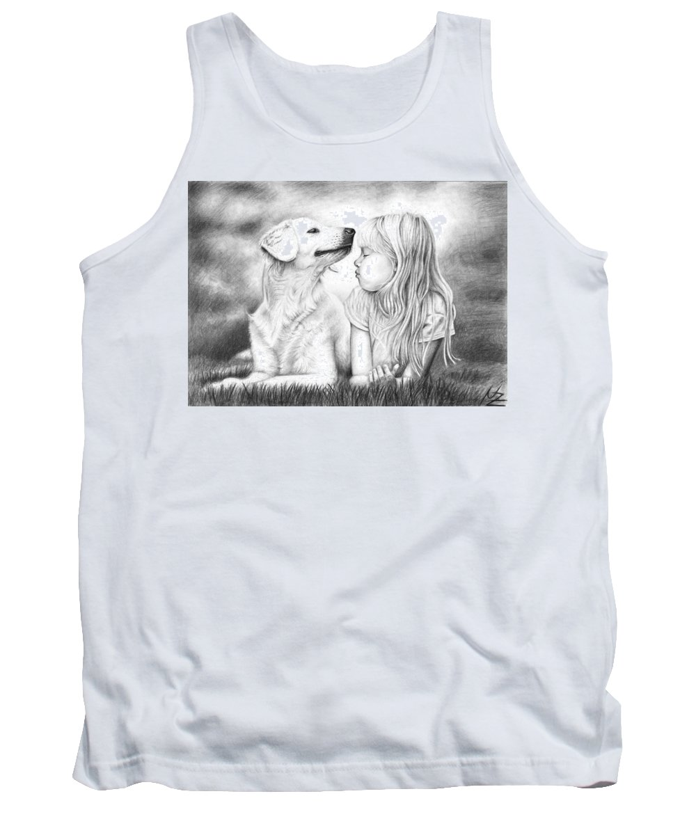 Dog Tank Top featuring the drawing Friends by Nicole Zeug