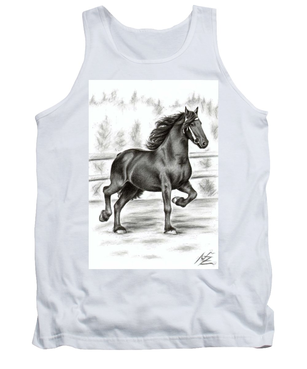 Horse Tank Top featuring the drawing Friesian Horse by Nicole Zeug