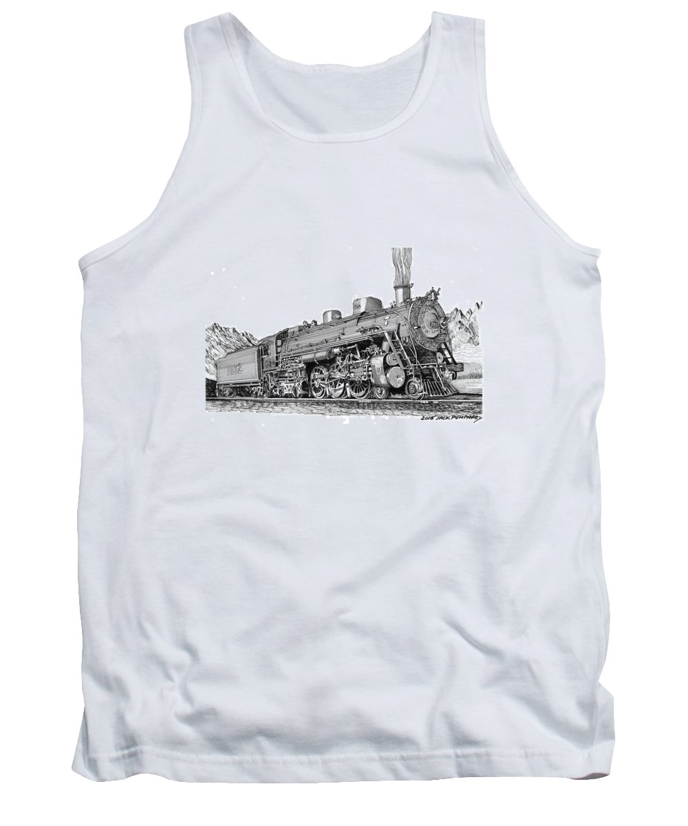 Steam Engine Locomotive Tank Top featuring the drawing Steam Driven Locomotive by Jack Pumphrey