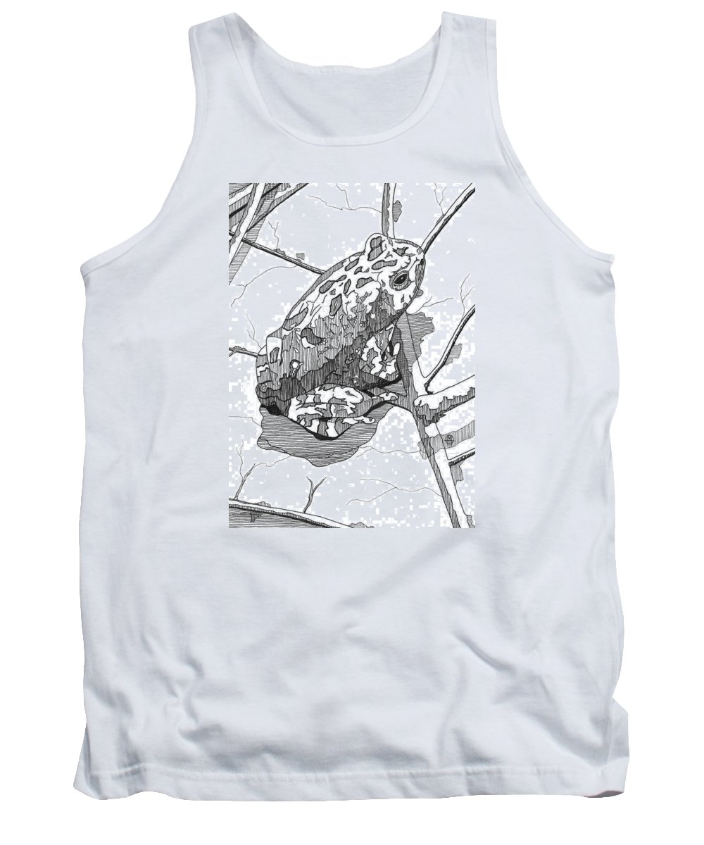 Frog Tank Top featuring the drawing Oak Toad On A Leaf by Matthew Howard