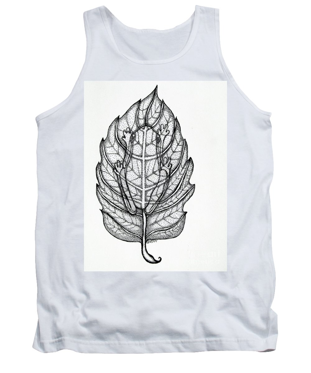 Frog Tank Top featuring the drawing Frog On A Leaf by Nick Gustafson