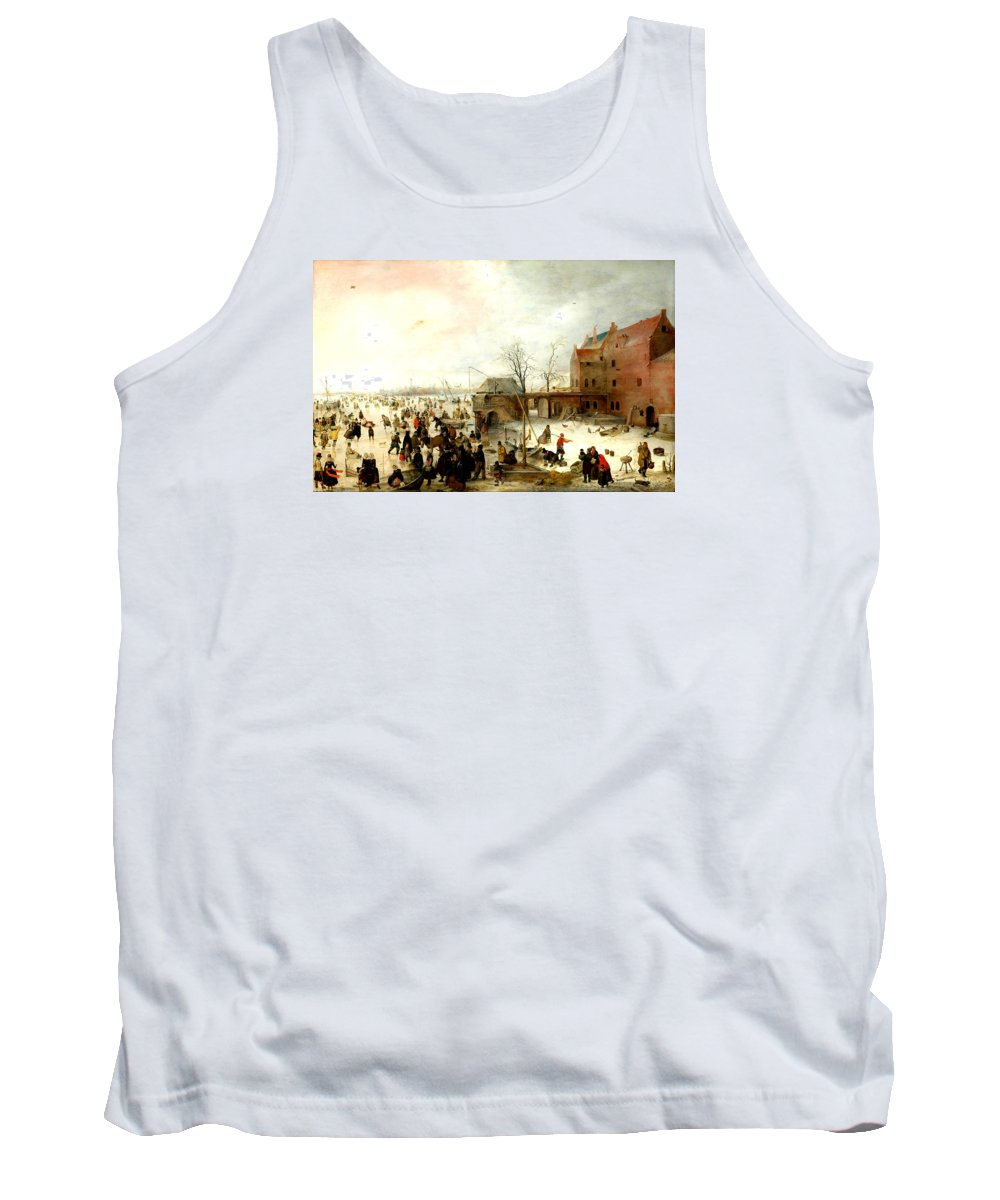 Hendrick Avercamp Tank Top featuring the painting Frozen River Near A Town by Hendrick Avercamp