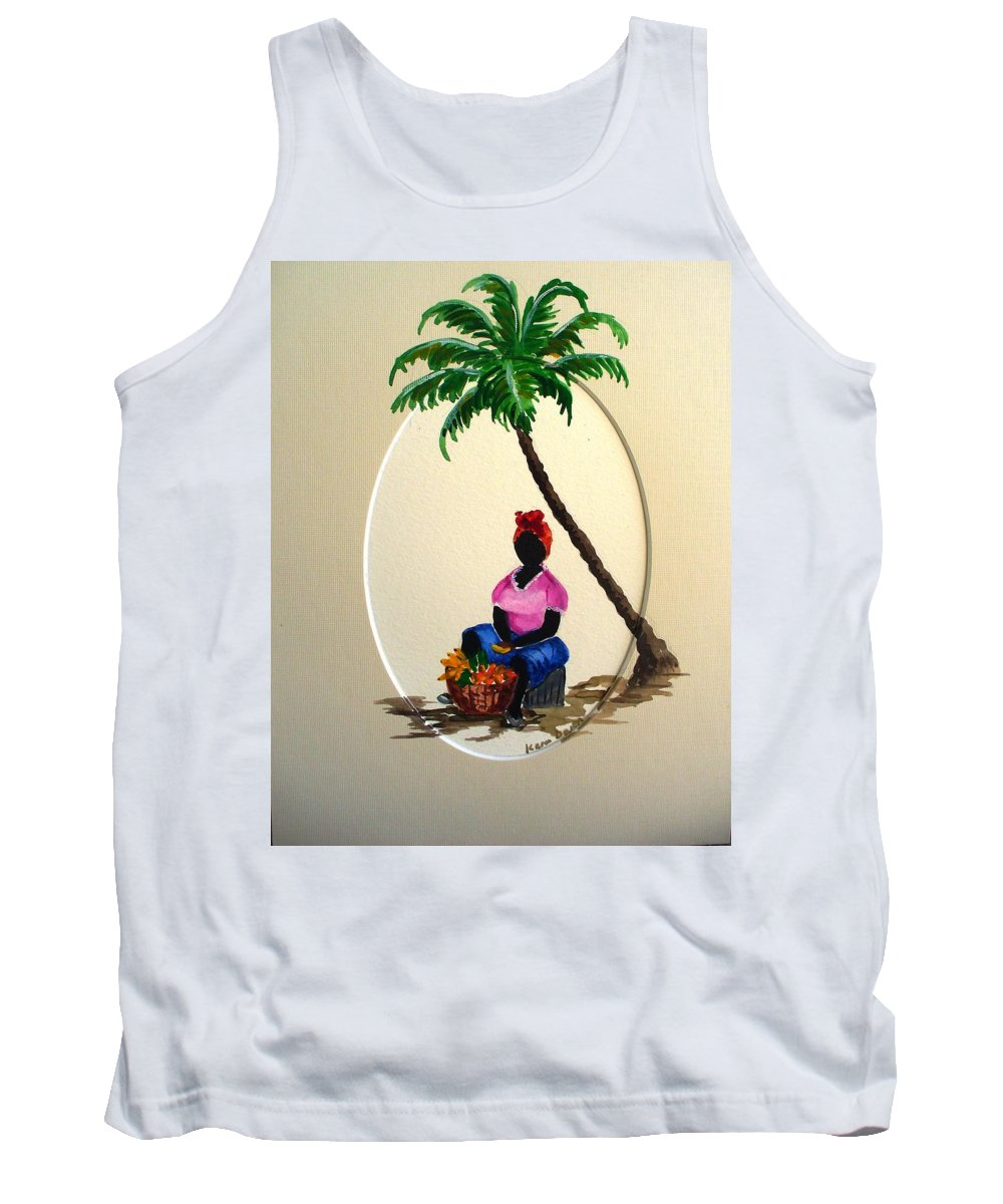 Tank Top featuring the painting Fruit Seller by Karin Dawn Kelshall- Best