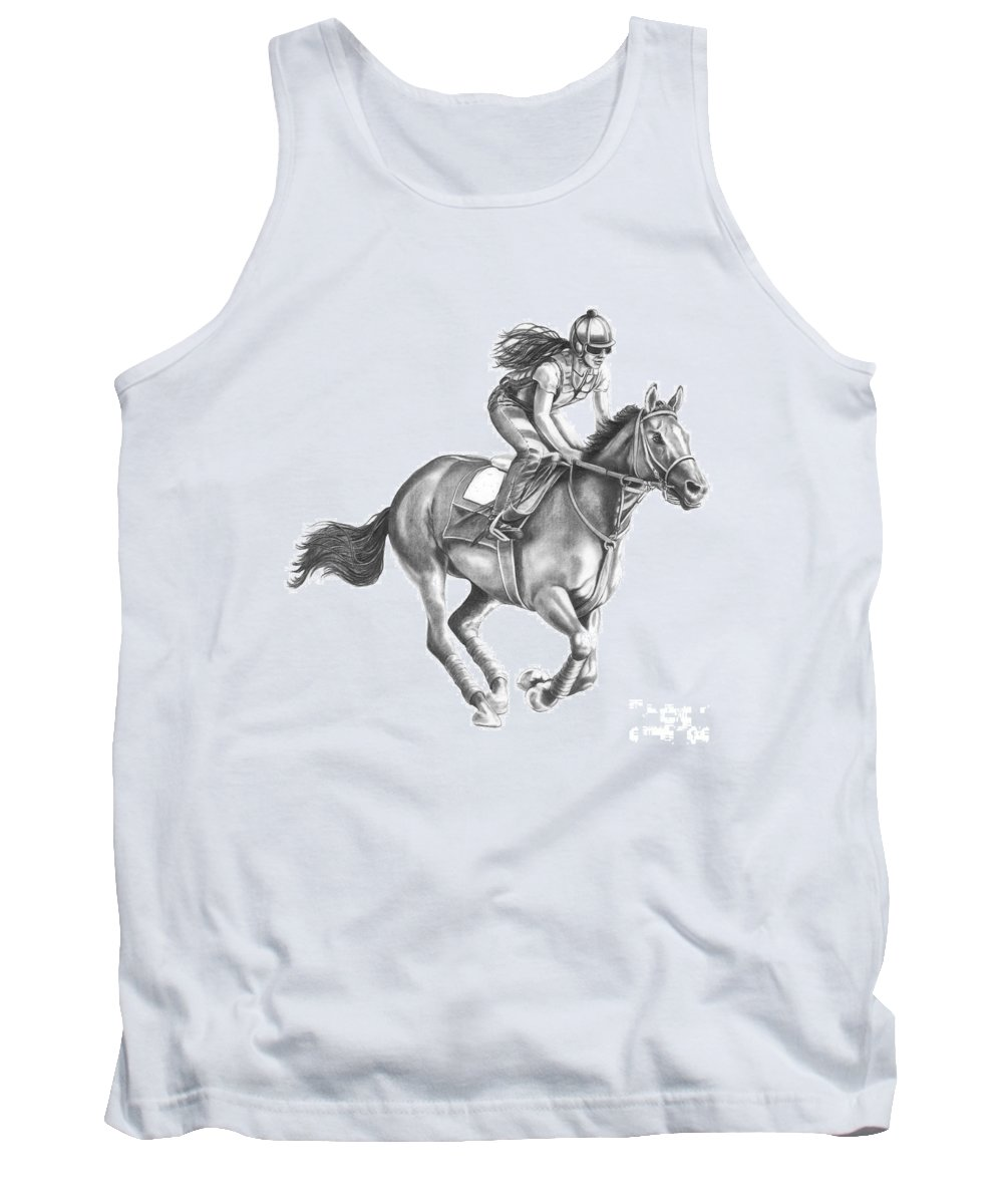 Horse Tank Top featuring the drawing Full Gallop by Murphy Elliott