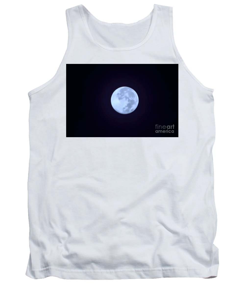 Moon Tank Top featuring the photograph Full Moon In Blue by D Hackett