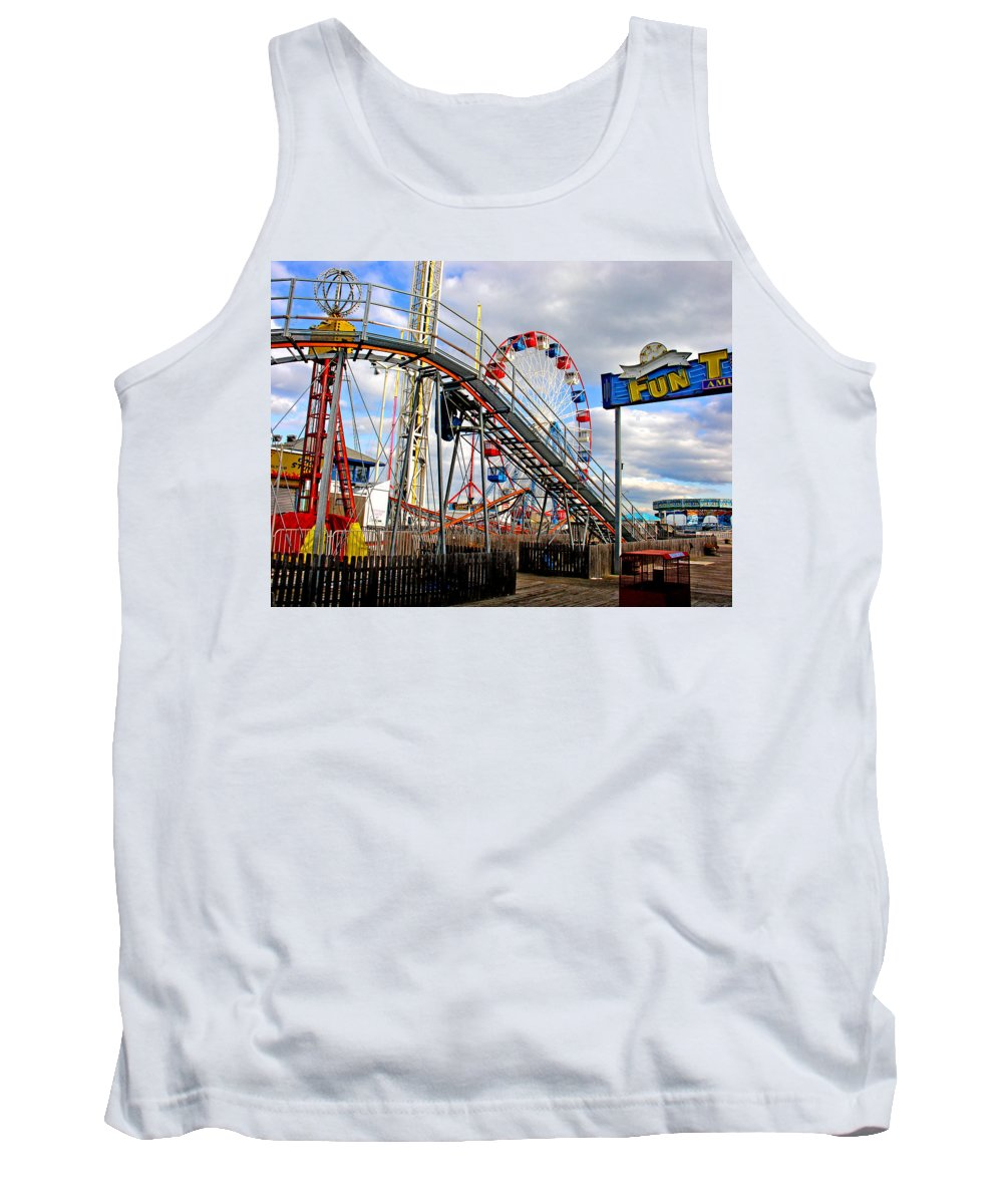 Seaside Tank Top featuring the photograph Fun Town by Steve Karol