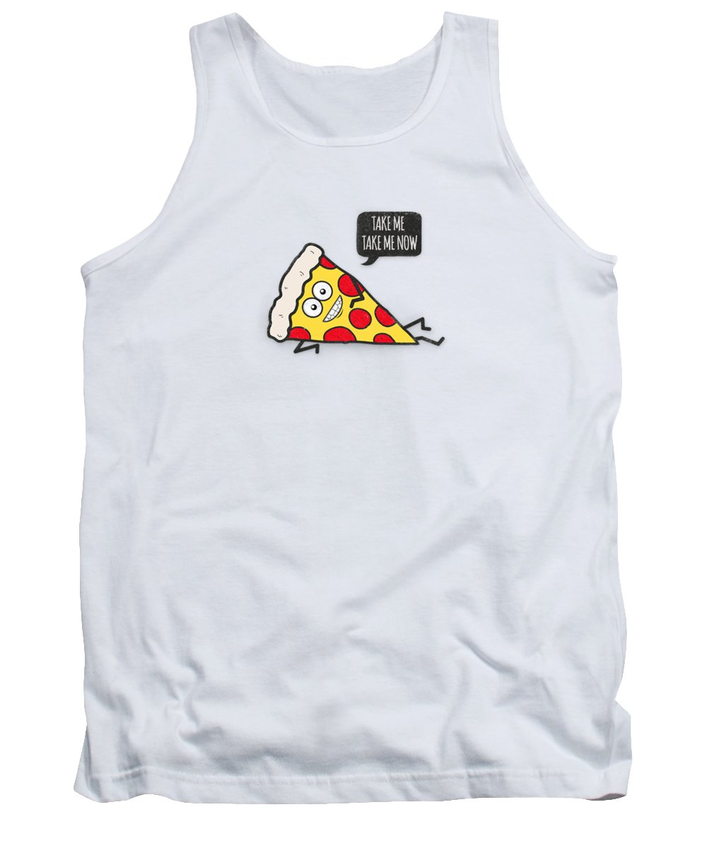 Pizza Tank Top featuring the digital art Funny And Cute Delicious Pizza Slice Wants Only You by Philipp Rietz
