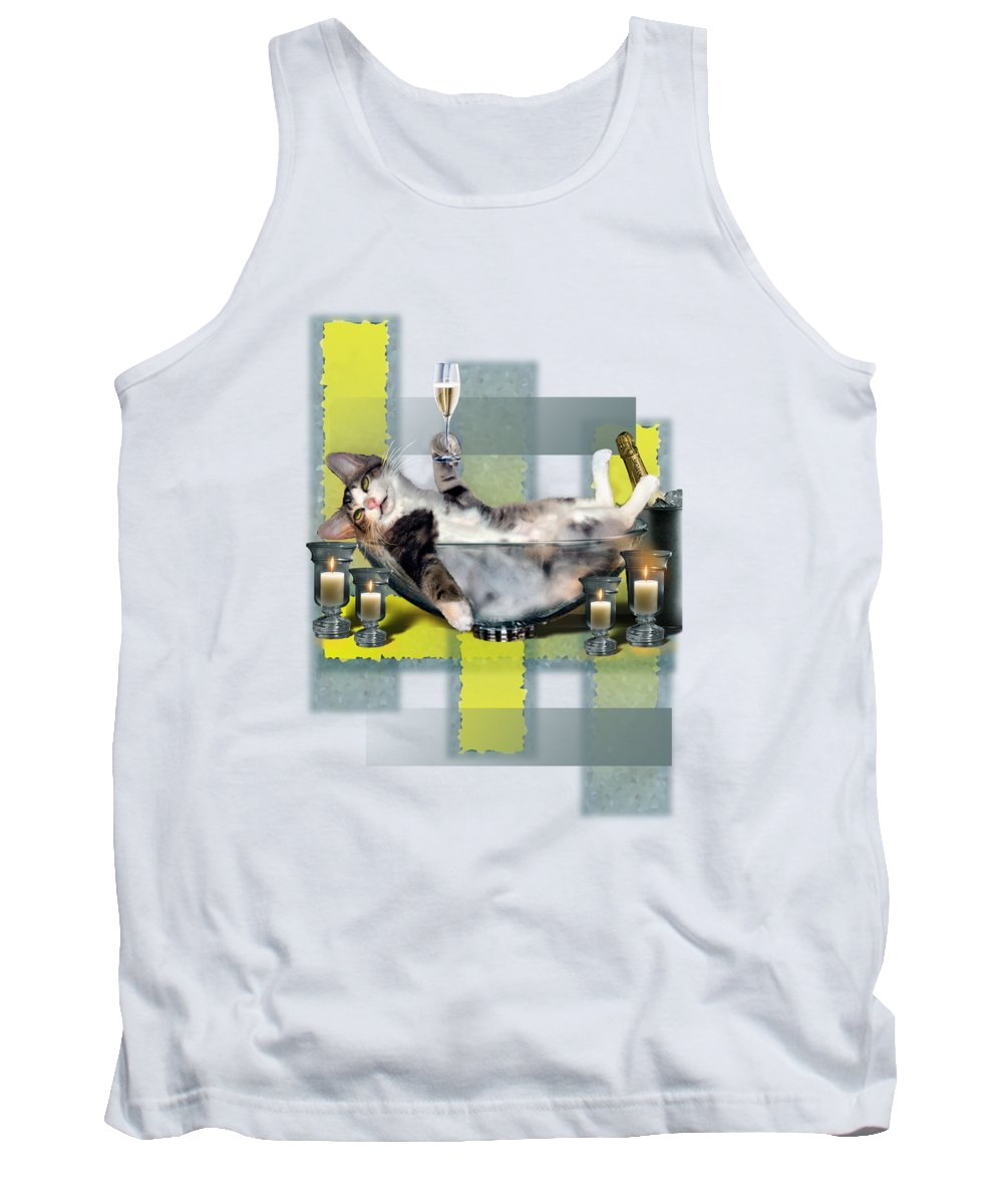 Funny Pet Print Tank Top featuring the painting Funny Pet Print With A Tipsy Kitty by Regina Femrite