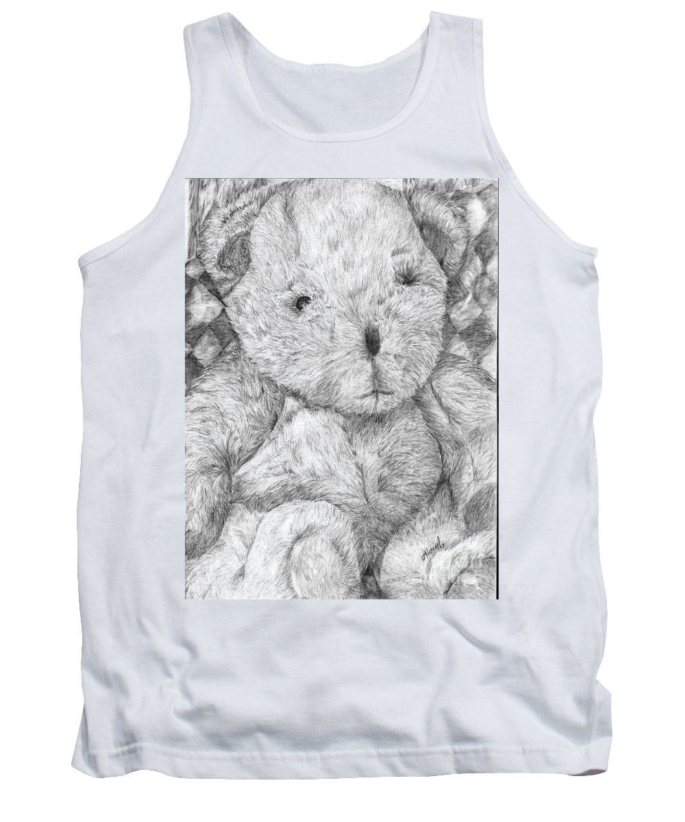 Bear Tank Top featuring the drawing Fuzzy Wuzzy Bear by Vicki Housel