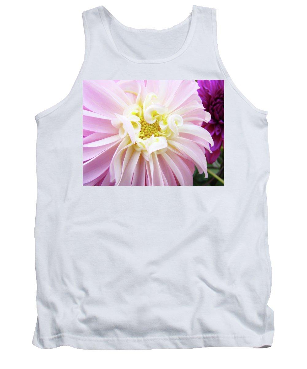 Dahlia Tank Top featuring the photograph Garden Floral Art Pink Dahlia Flower Baslee Troutman by Baslee Troutman