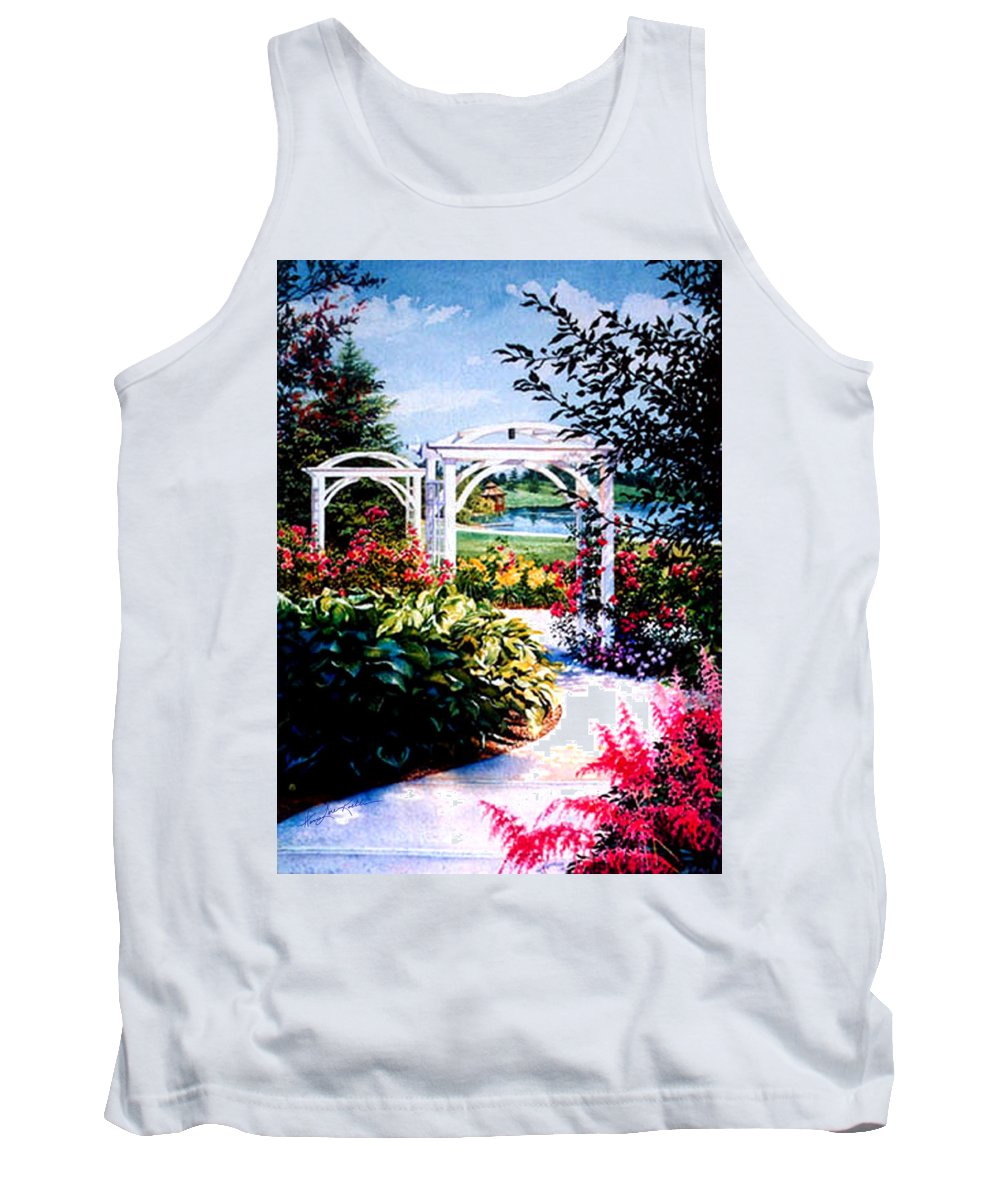 Garden Tank Top featuring the painting Garden Path by Hanne Lore Koehler